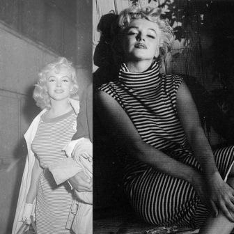 Мерилин Монро фото платье в полоску